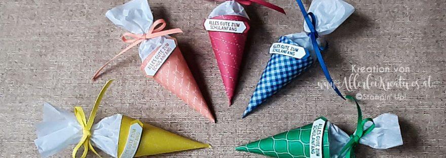 Mini Schultüten aus Designerpapier von Stampin Up - in den In Color 2018-20, Ananas, Grapefruit, Kussrot, Blaubeere, Kleegrün